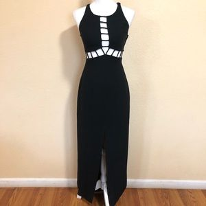Vintage Cache Size 2 Black Gown Front Slit Dress